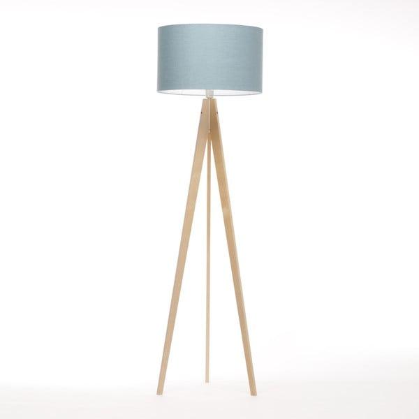 Stojací lampa Artist Light Blue Linnen/Birch Natural, 125x42 cm