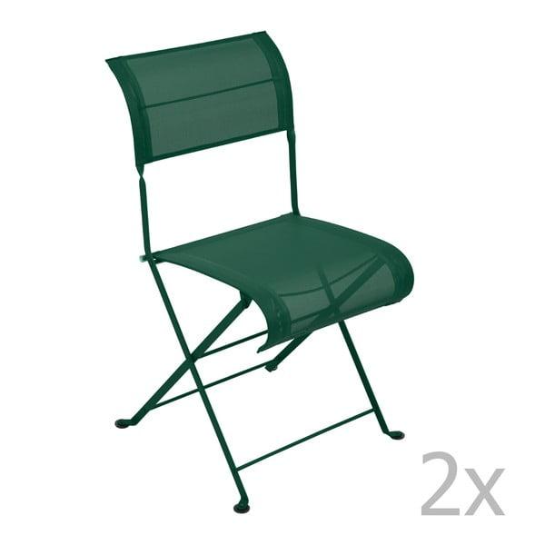 Sada 2 zelených skládacích židlí Fermob Dune