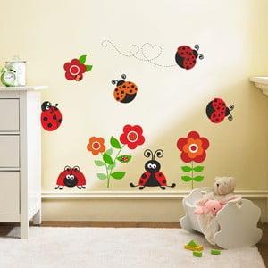 Samolepka na zeď Berušky s květinami, 90x60 cm