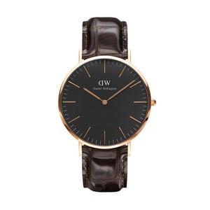 Unisex hodinky s hnědým páskem Daniel Wellington York Rose, ⌀40mm
