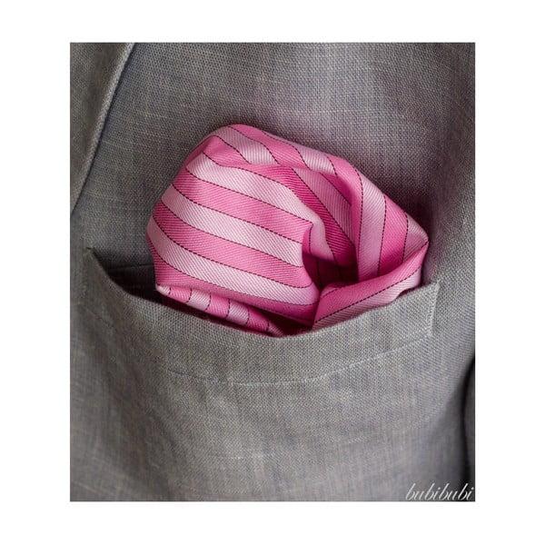 Růžový kapesníček s proužky do saka