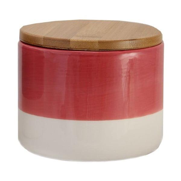 Červeno-bílá keramická dóza Strömshaga Majken, 10 cm