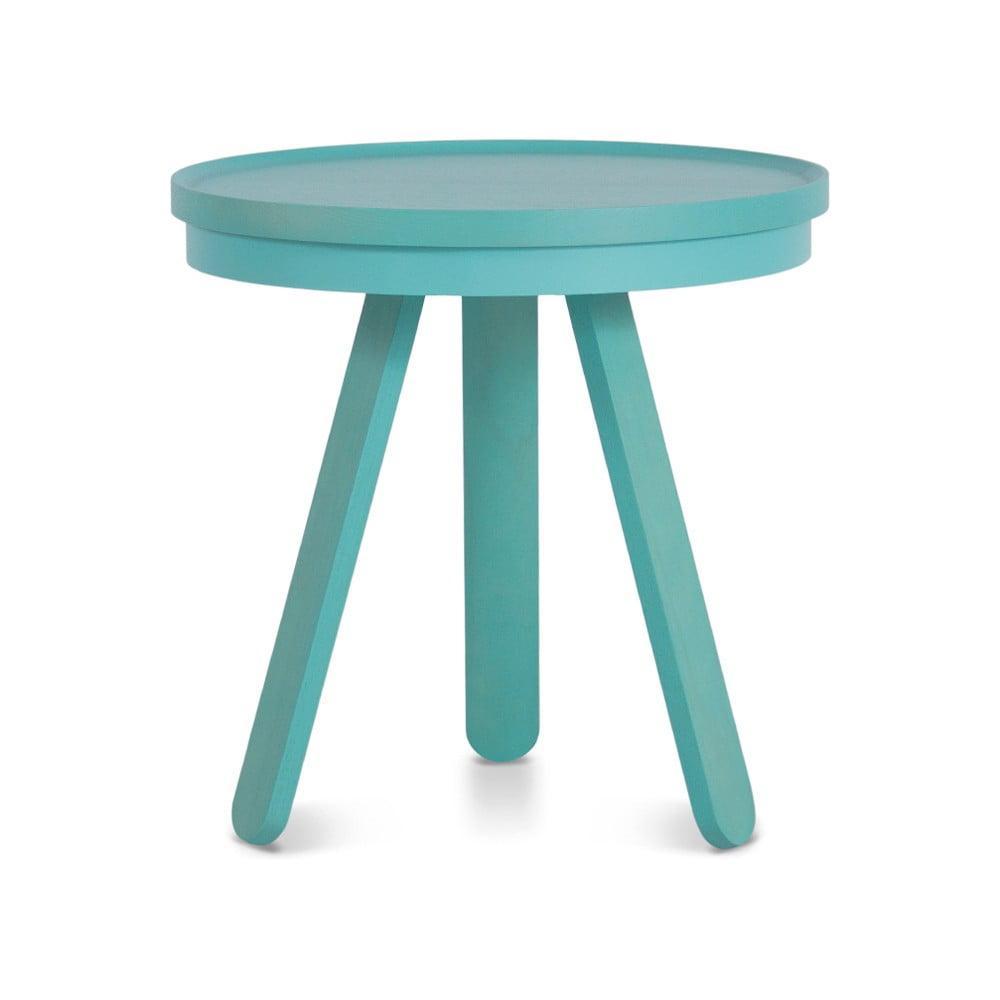 Zelenomodrý odkládací stolek z jasanového dřeva s podnosem Woodendot Batea S