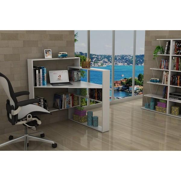 Bílý pracovní stůl s úložnými prostory Rafevi Pisagor