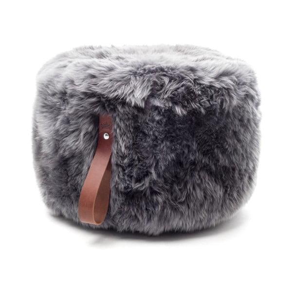 Šedý puf z ovčí kožešiny s hnědým detailem Royal Dream,Ø60cm
