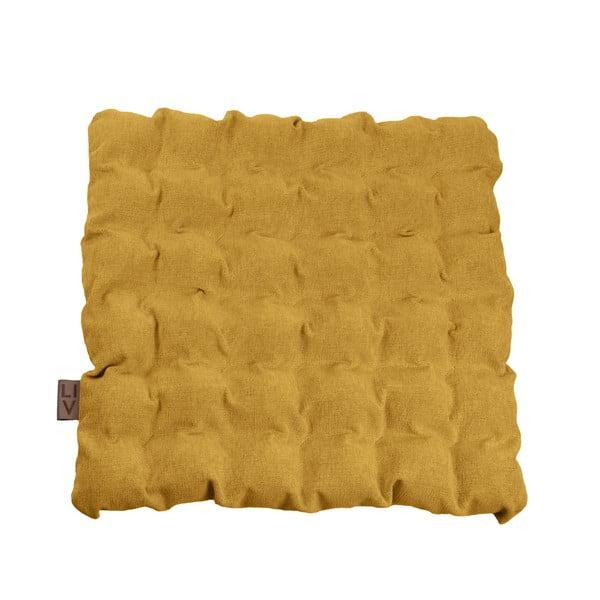 Ciemnożółta poduszka do siedzenia z piłkami do masażu Linda Vrňáková Bubbles, 55x55 cm