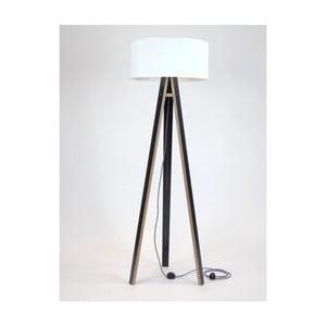 Černá stojací lampa s bílým stínítkem a černo-bílým kabelem Ragaba Wanda