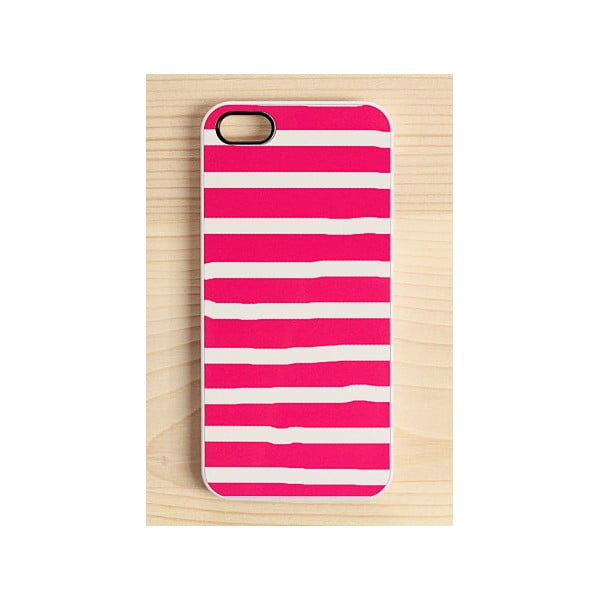 Obal na iPhone 4/4S, Hot Pink, white stripes, bílý