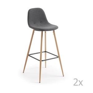 Sada 2 tmavě šedých barových židlí La Forma Nilson