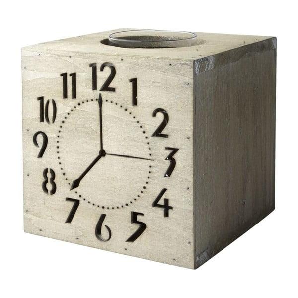 Svícen Wood Clocks, 17x15 cm