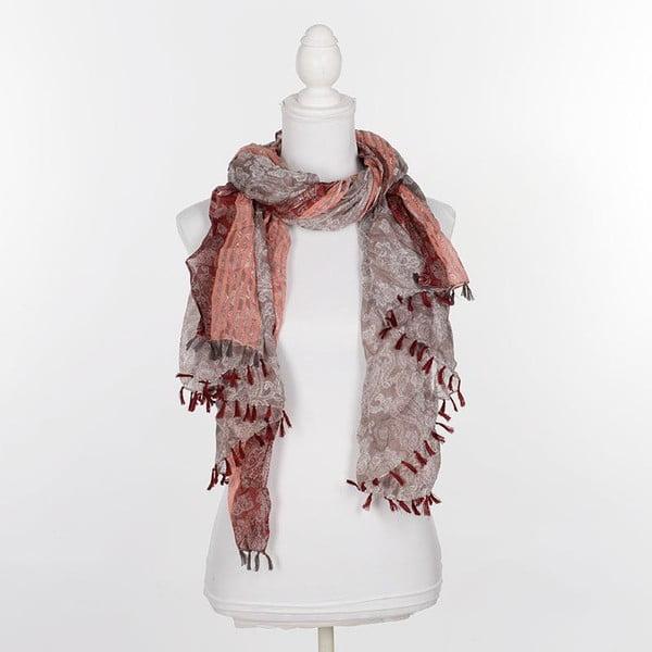 Šátek/pareo BLE Inart 100x180 cm, hnědý/červený