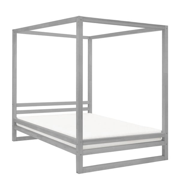 Šedá dřevěná dvoulůžková postel Benlemi Baldee, 190x180cm