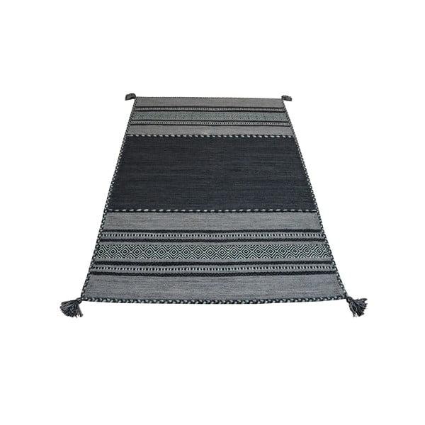 Tmavě šedý bavlněný koberec Webtappeti Antique Kilim, 120 x 180 cm