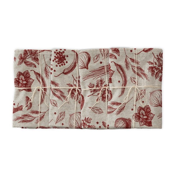 Zestaw 4 serwetek tekstylnych z domieszką lnu Linen Couture Red Peppers, szer. 40 cm
