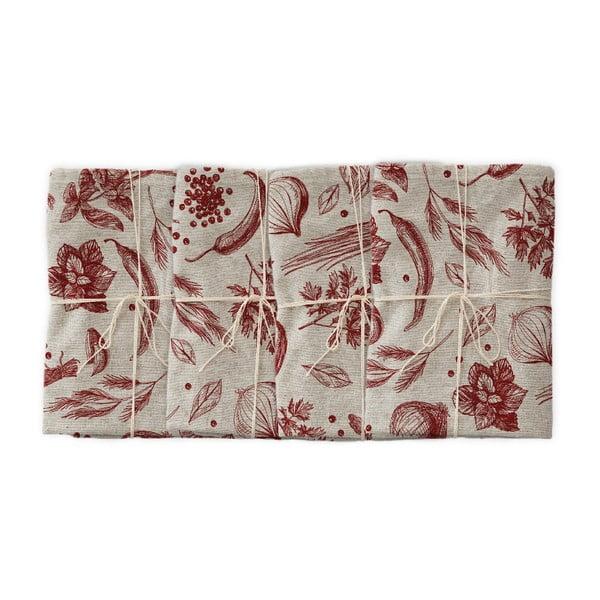Set 4 șervețele textile Linen Couture Red Peppers, lățime 40 cm