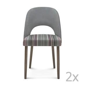 Sada 2 šedých dřevěných židlí Fameg Lecia