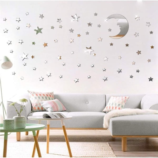 Zestaw 77 elektrostatycznych naklejek lustrzanych Ambiance Moon and Stars