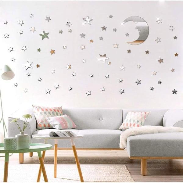 Sada 77 adhezivních zrcadlových samolepek Ambiance Moon and Stars