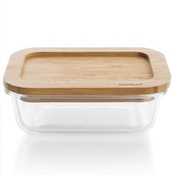 Recipient din bambus cu capac Bambum Glass Storage Box, 1040 ml de la Bambum