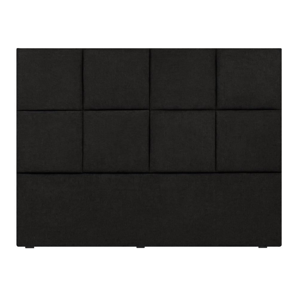 Černé čelo postele Mazzini Sofas Barletta, 140 x 120 cm