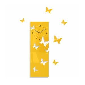 Hodiny z plexiskla Butterflies Away Yellow