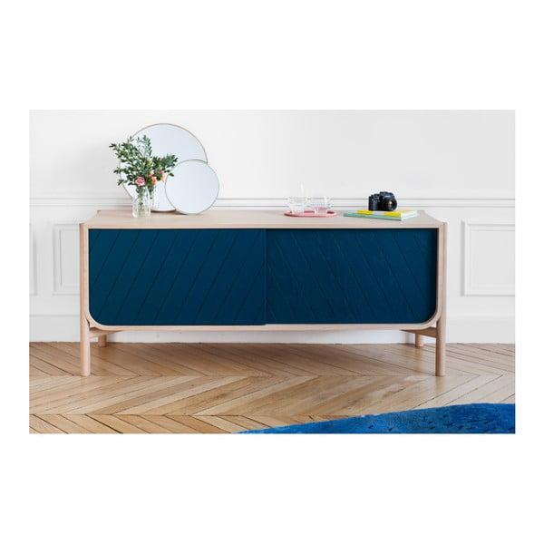 Petrolejově modrá TV komoda z dubového dřeva HARTÔ Marius, šířka155cm