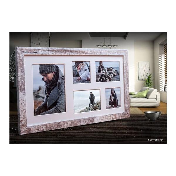 Šedo-bílý rámeček na 5 fotografií Styler Narvik, 27x51cm
