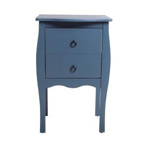 Modrý odkládací stolek se 2 zásuvkami z borovicového dřeva SOB Oculus