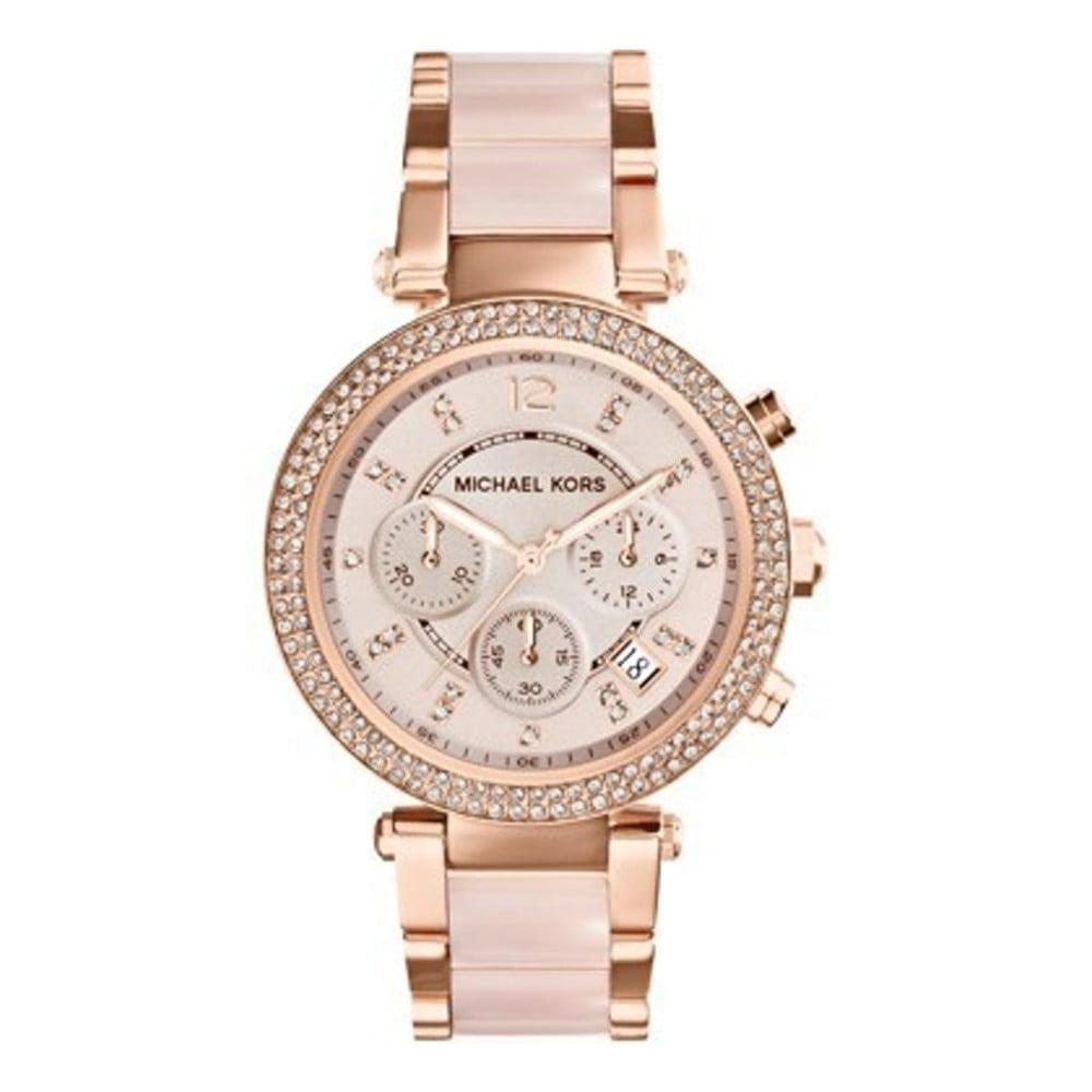 Dámské růžové hodinky s detaily v barvě růžového zlata Michael Kors Blush f789099de1