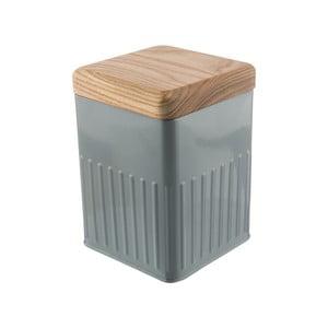 Šedá plechová hranatá dóza s víčkem z jasanového dřeva Bakehouse Hydria S