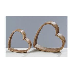 Dekorace Wood Heart, 2 ks