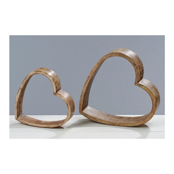 Dekorace Wood Heart, 2 ks