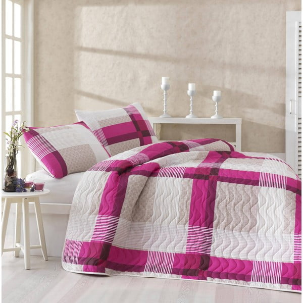 Sada přehozu přes postel a dvou povlaků na polštář Karo Pink, 200x220 cm