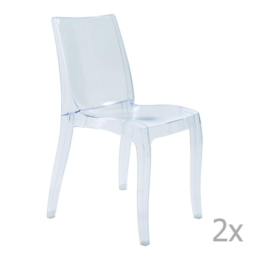 Sada 2 transparentních jídelních židlí Castagnetti Cristal