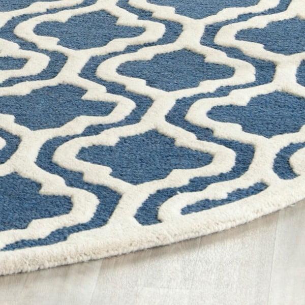 Modrý vlněný koberec Safavieh Lola, 91x152cm