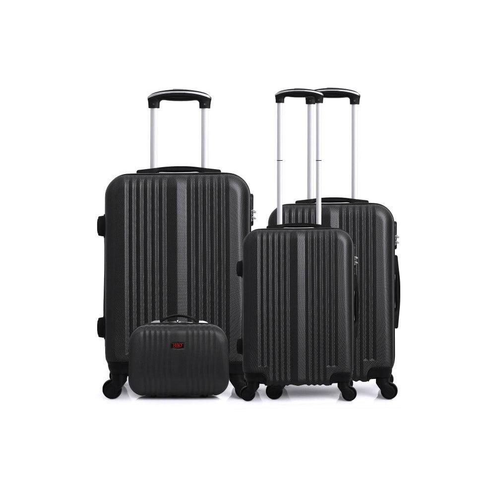 Sada 4 černých cestovních kufrů na kolečkách Hero Lipari-C