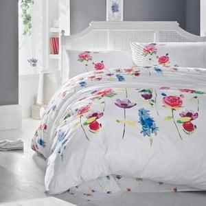 Lenjerie de pat cu cearșaf din bumbac Spring Fuchsia, 200x220cm