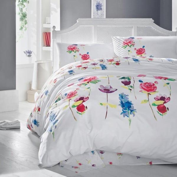 Lenjerie de pat cu cearșaf din bumbac şi 2 feţe de pernă Spring, 200x220cm