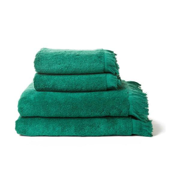 Set 2 zelených ručníků a 2 osušek z čisté bavlny Casa Di Bassi