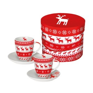 Sada 2 šálků z kostního porcelánu na espresso s vánočním motivem v dárkovém balení PPD Magic Christmas Red, 100 ml