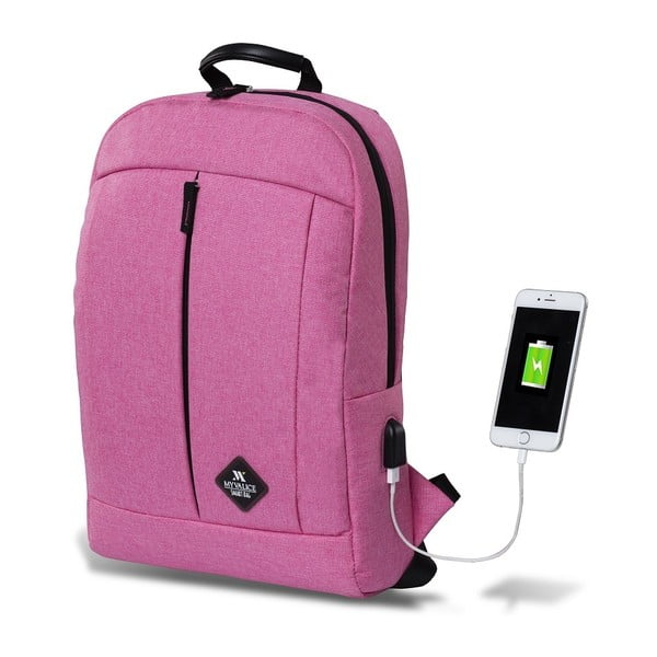 Fuchsiový batoh s USB portom My Valice GALAXY Smart Bag