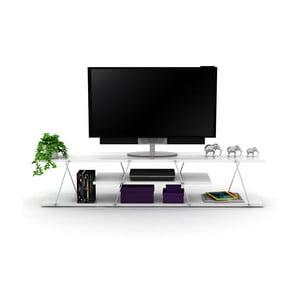 Bílý televizní stolek s chromovým detailem Rafevi Tars