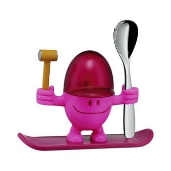 Suport pentru ou cu lingură WMF Cromargan® Mc Egg, roșu - roz