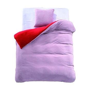 Lenjerie de pat reversibilă din microfibră DecoKing Furry, 200x220cm, roșu – roz de la DecoKing