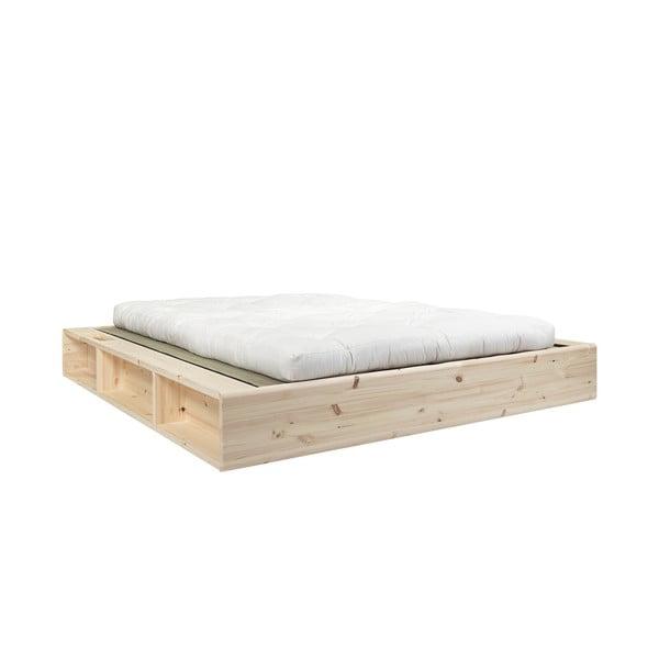 Pat dublu din lemn masiv cu futon Double Latex și tatami Karup Design, 180x200cm