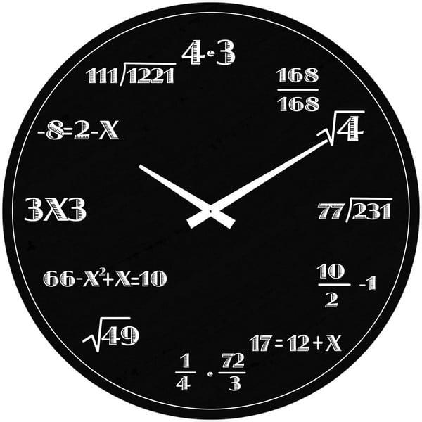 Skleněné hodiny Matematika, 38 cm