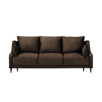 Canapea extensibilă cu husă din catifea și spațiu de depozitare Mazzini Sofas Freesia, 215 cm, maro imagine