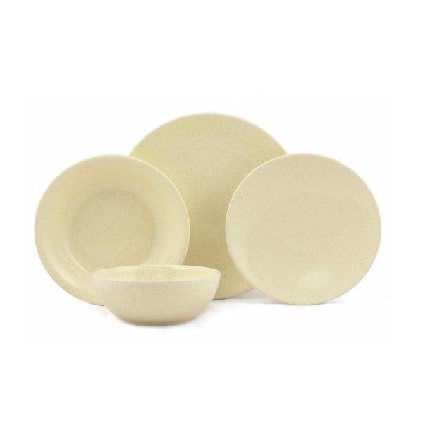 24-częściowy zestaw żółtych talerzy z porcelany Kutahya Fenty