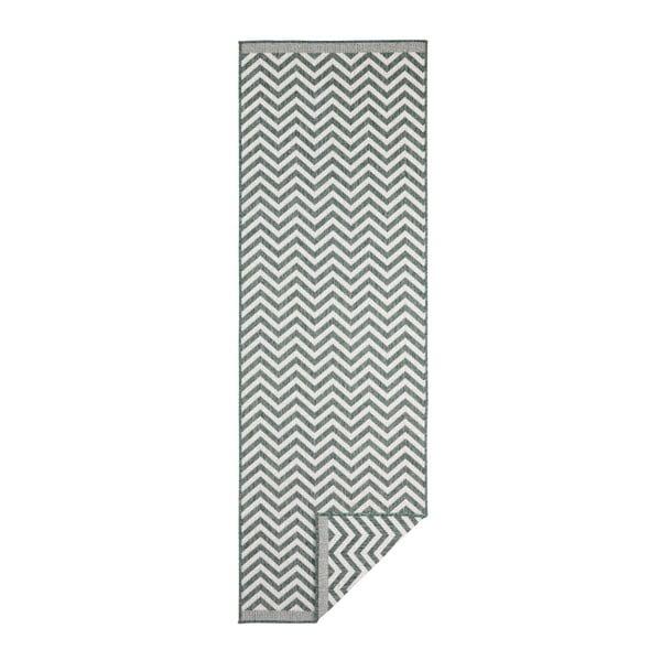 Covor reversibil adecvat interior/exterior Bougari Twin Palma, 80 x 150 cm, verde-crem