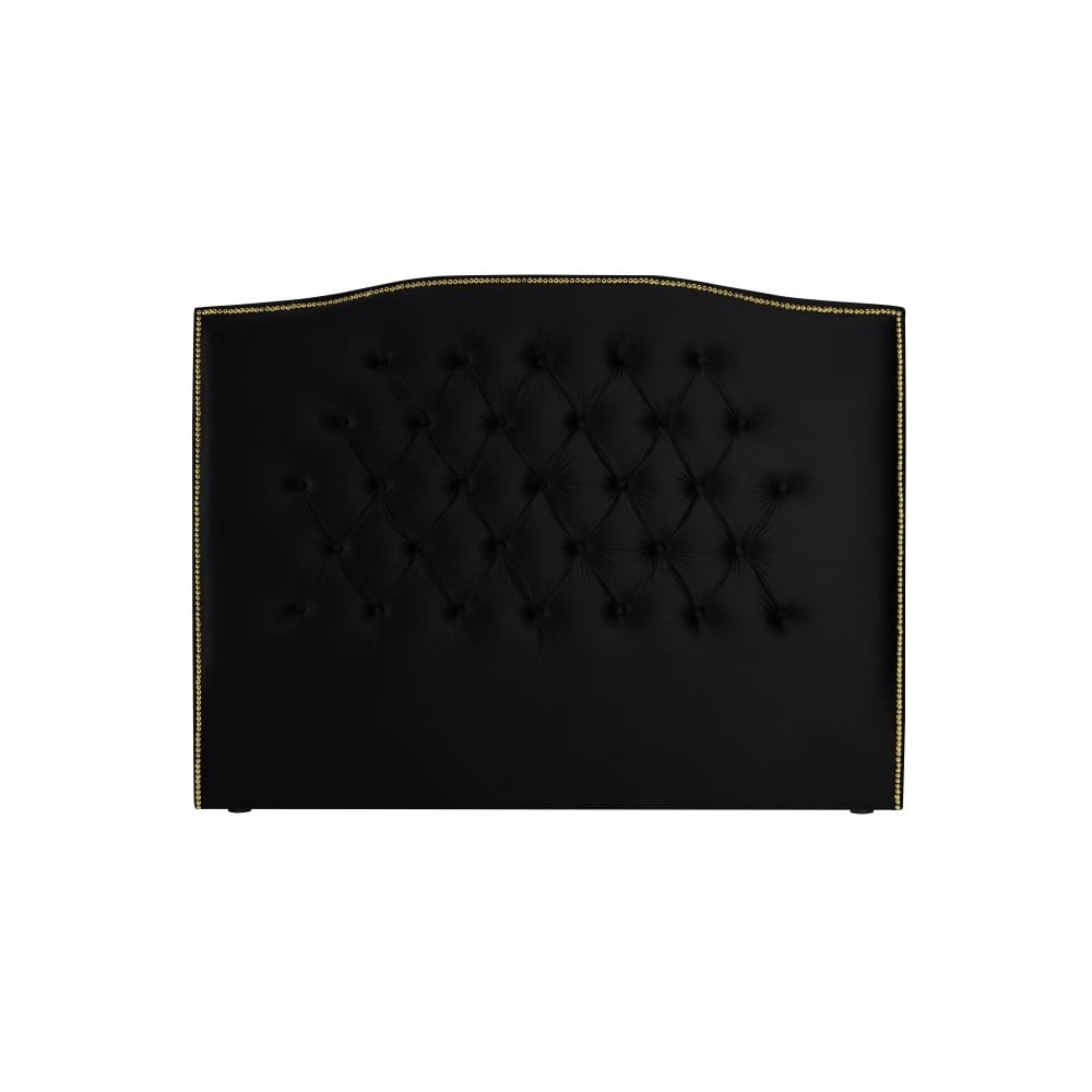 Černé čelo postele Mazzini Sofas Anette, 140 x 120 cm